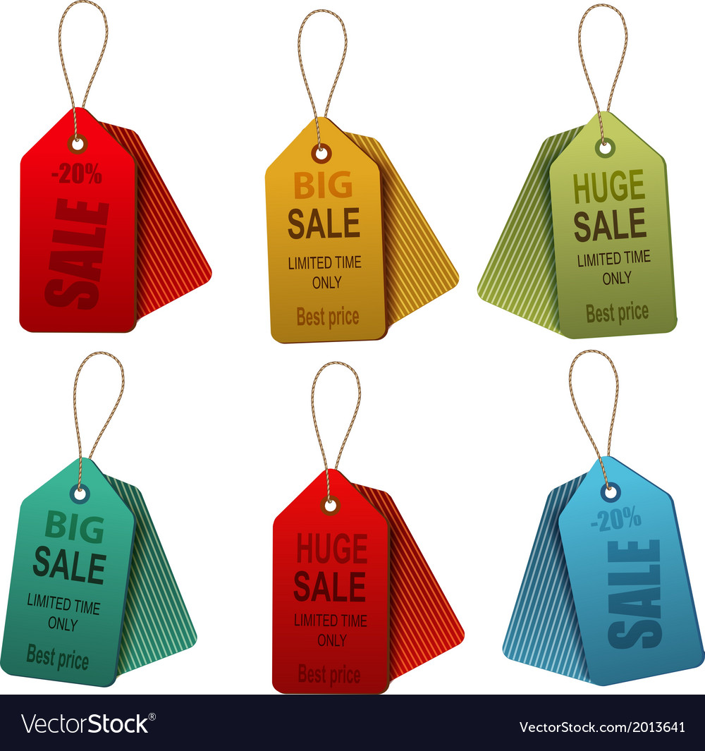 Set of colorrful sale tags concept of discount vector | Price: 1 Credit (USD $1)