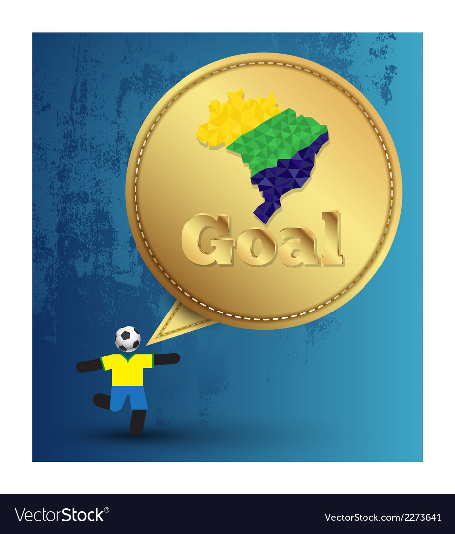 Speech gold embroidery goal with soccer player act vector | Price: 1 Credit (USD $1)