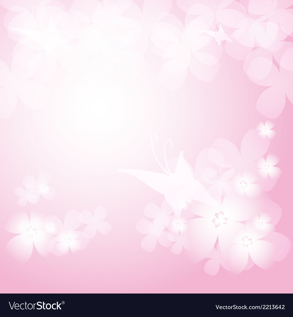 Background with pink flowers and butterfies vector | Price: 1 Credit (USD $1)