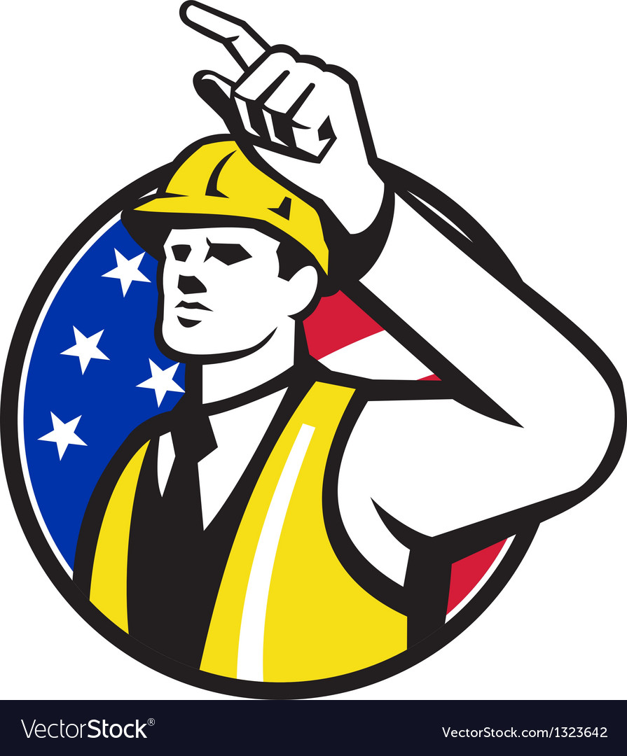 Builder construction worker engineer pointing vector | Price: 1 Credit (USD $1)