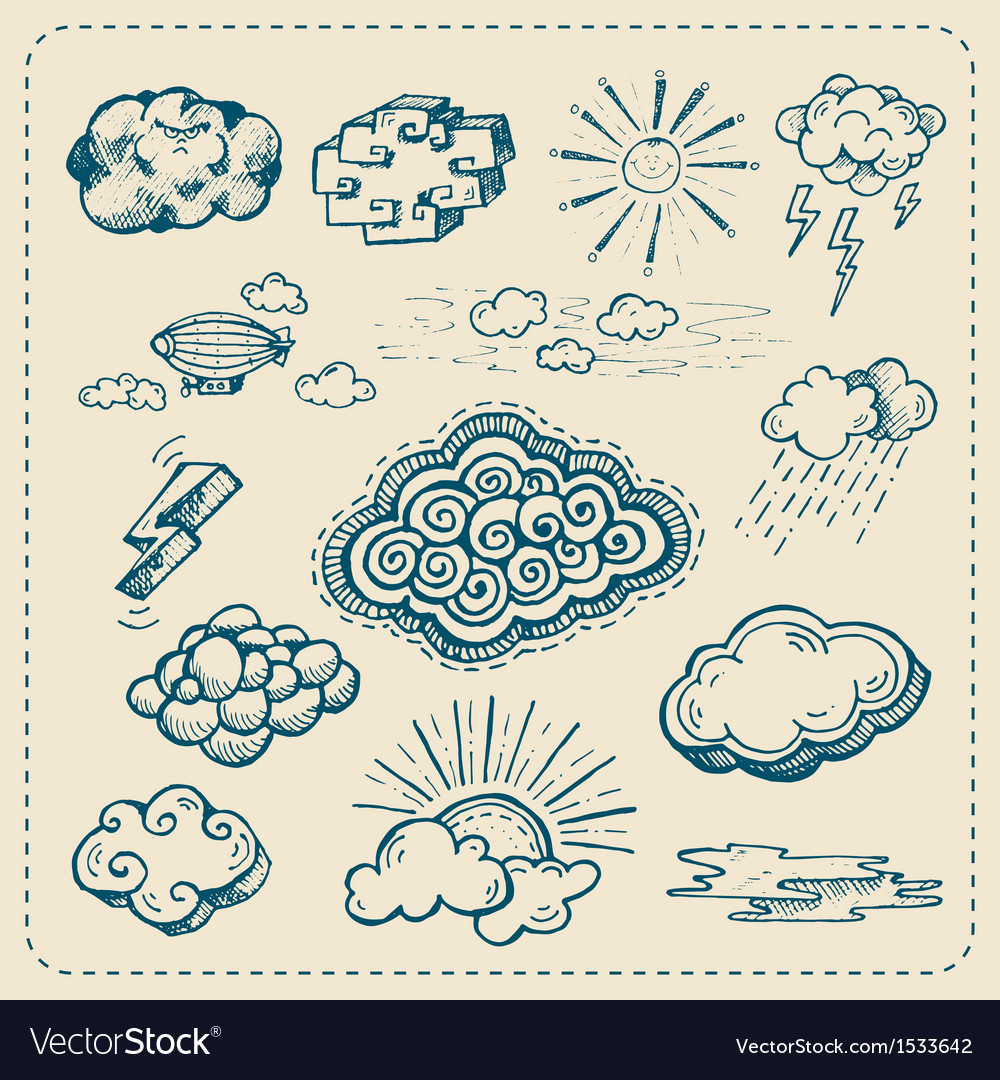Collection of hand drawn cloud icons vector | Price: 1 Credit (USD $1)