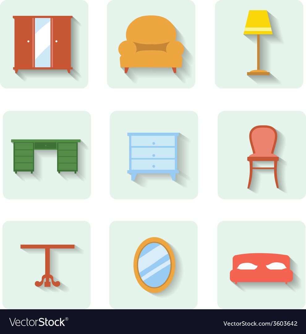Colored flat icons furniture set vector | Price: 1 Credit (USD $1)
