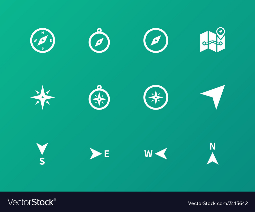 Compass icons on green background vector | Price: 1 Credit (USD $1)