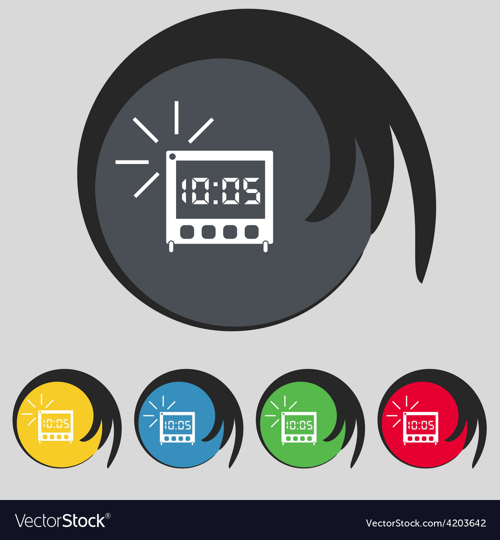 Digital alarm clock icon sign symbol on five vector | Price: 1 Credit (USD $1)