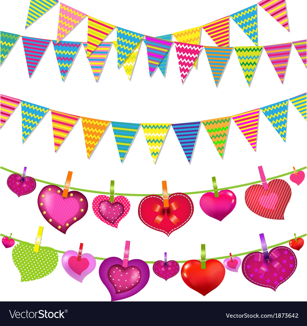 Garlands with bunting flags and hearts vector | Price: 1 Credit (USD $1)
