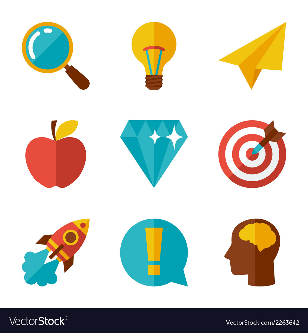 Idea concept icons in flat design style vector