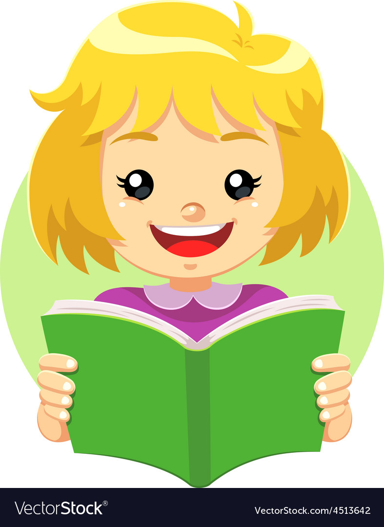 Little girl reading a green book vector | Price: 1 Credit (USD $1)