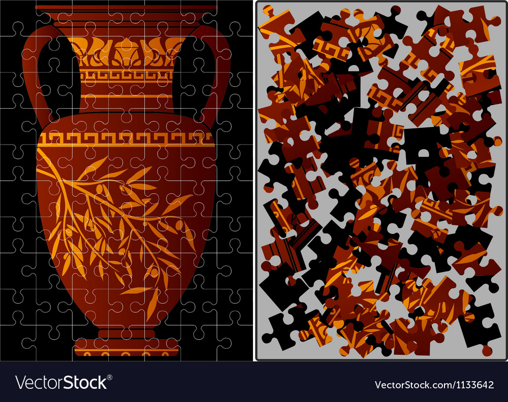 Puzzle of greek amphora vector | Price: 1 Credit (USD $1)