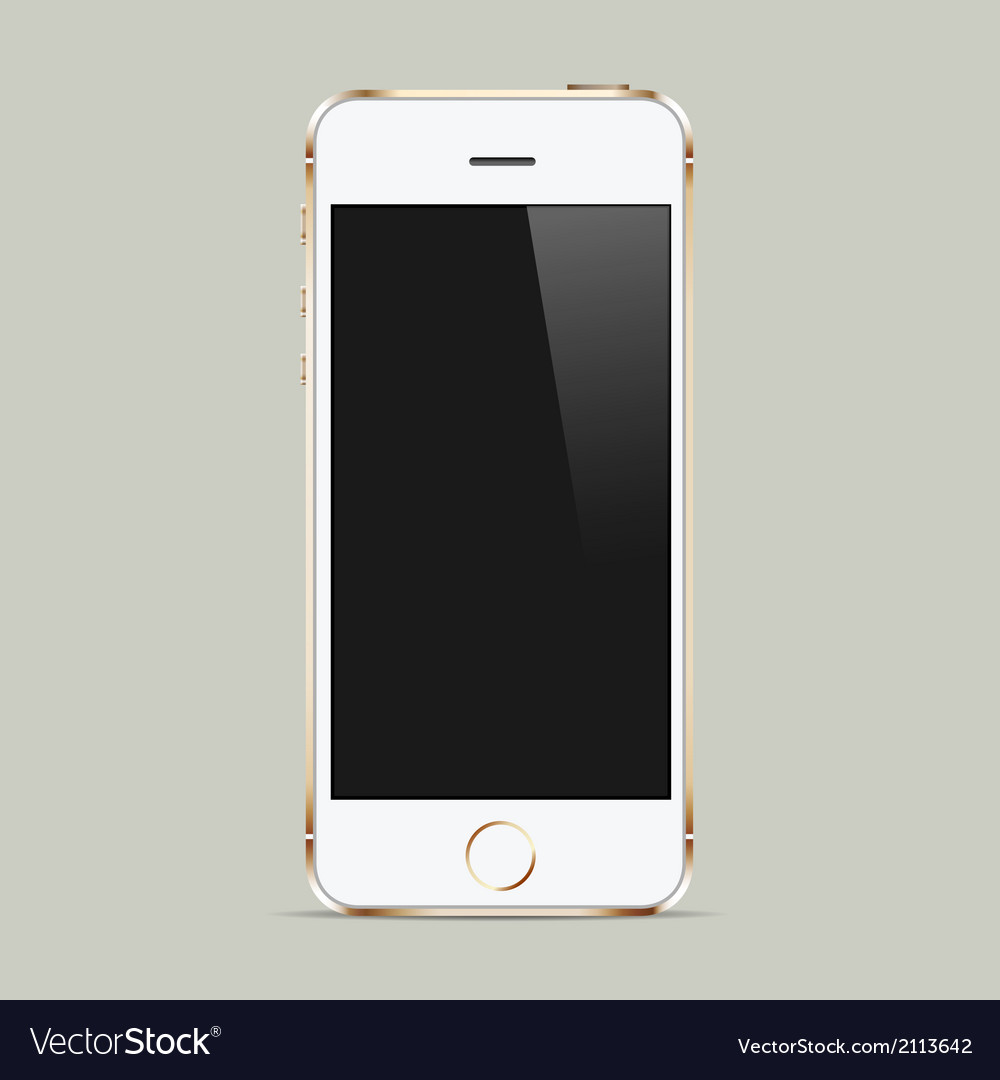 Realistic white mobile phone with blank screen vector | Price: 1 Credit (USD $1)