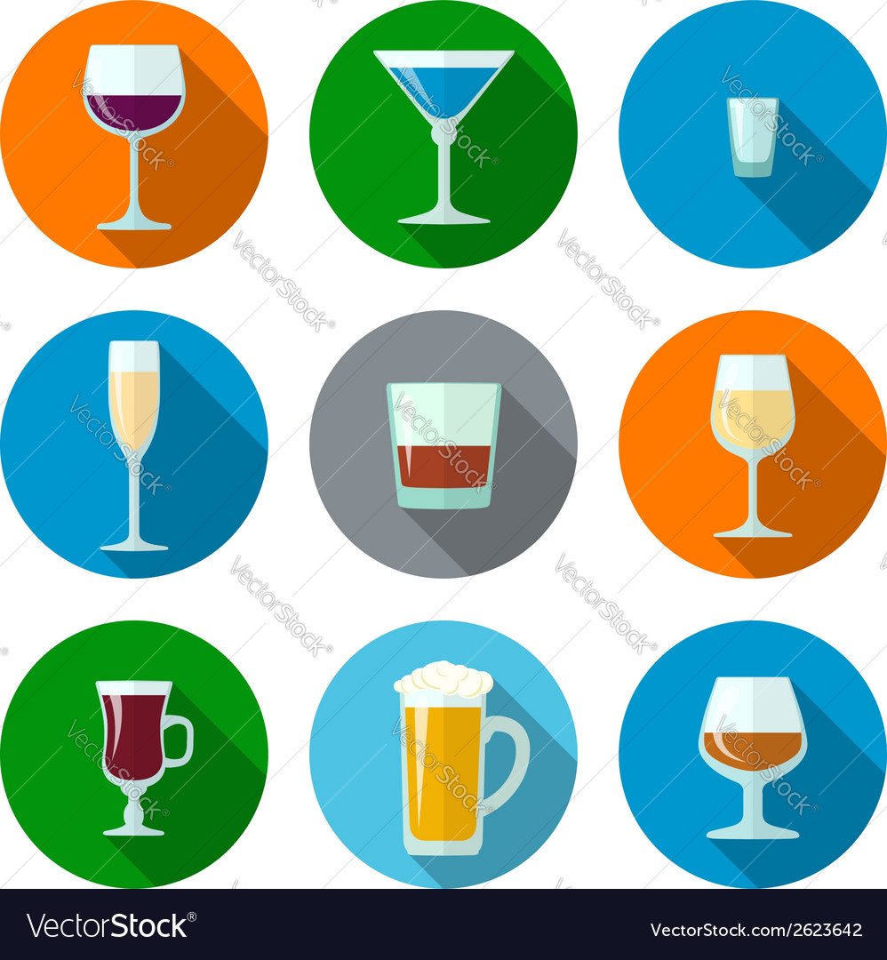 Set of flat design alcohol glasses icons vector | Price: 1 Credit (USD $1)