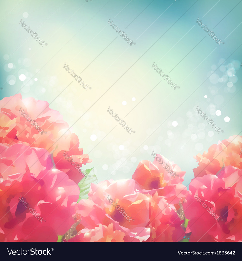 Shining flowers roses peonies background vector | Price: 1 Credit (USD $1)