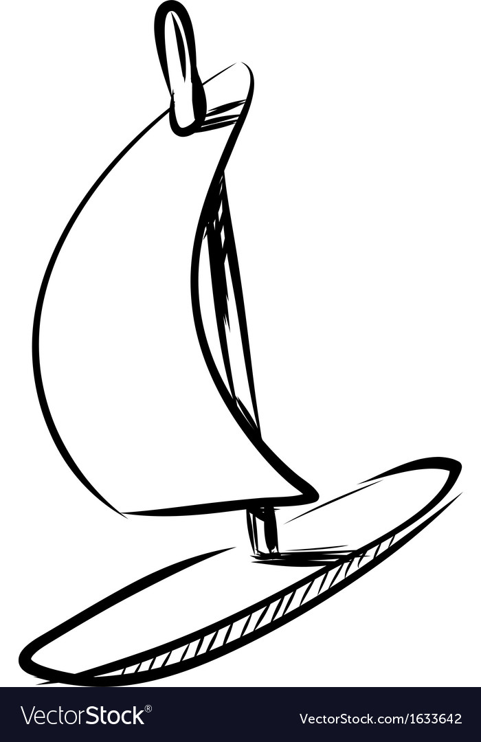 Wind surfing board isolated on white vector | Price: 1 Credit (USD $1)