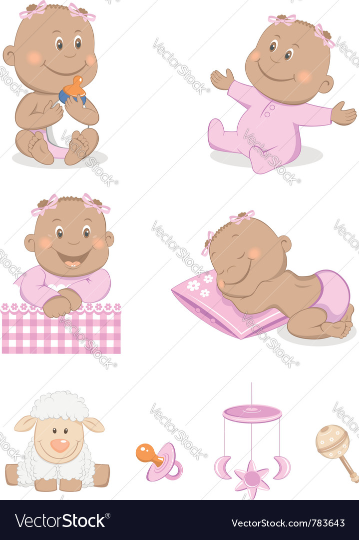 Baby girl with toys vector | Price: 1 Credit (USD $1)