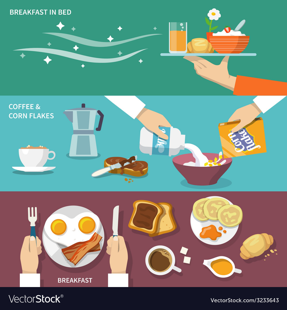 Breakfast banner set vector | Price: 1 Credit (USD $1)