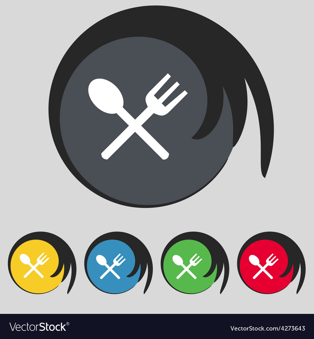 Fork and spoon crosswise cutlery eat icon sign vector | Price: 1 Credit (USD $1)