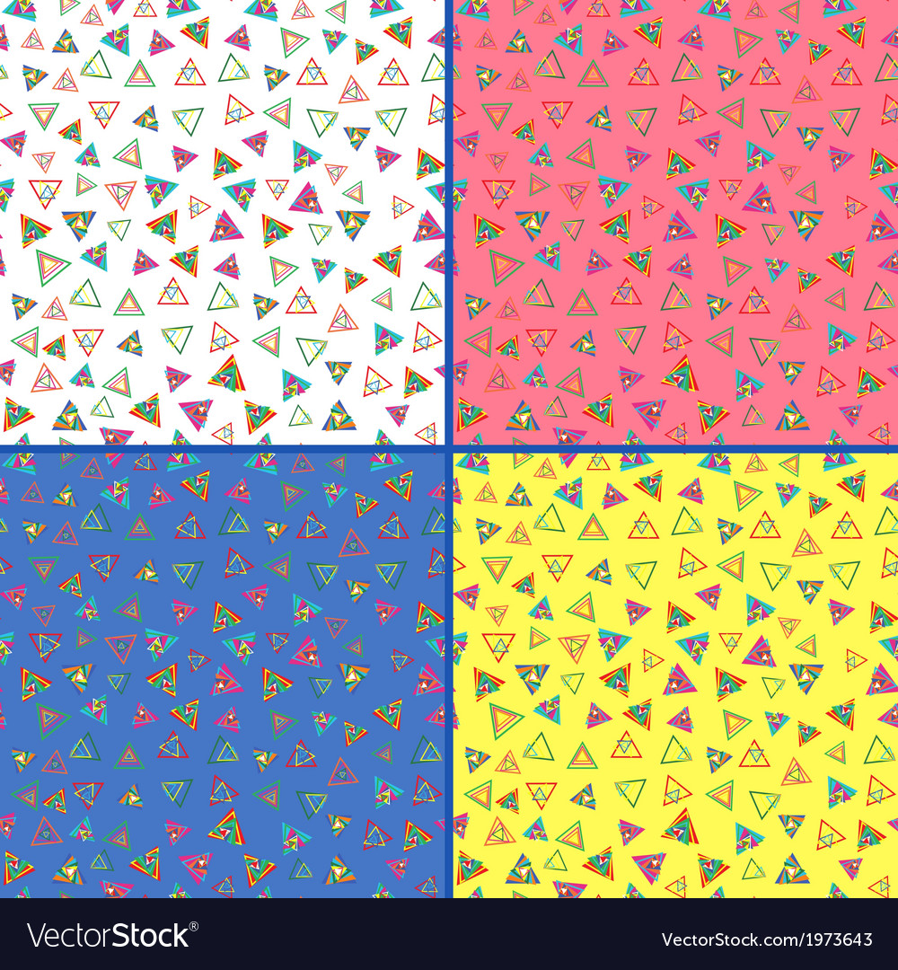 Four seamless patterns with colorful triangles vector | Price: 1 Credit (USD $1)