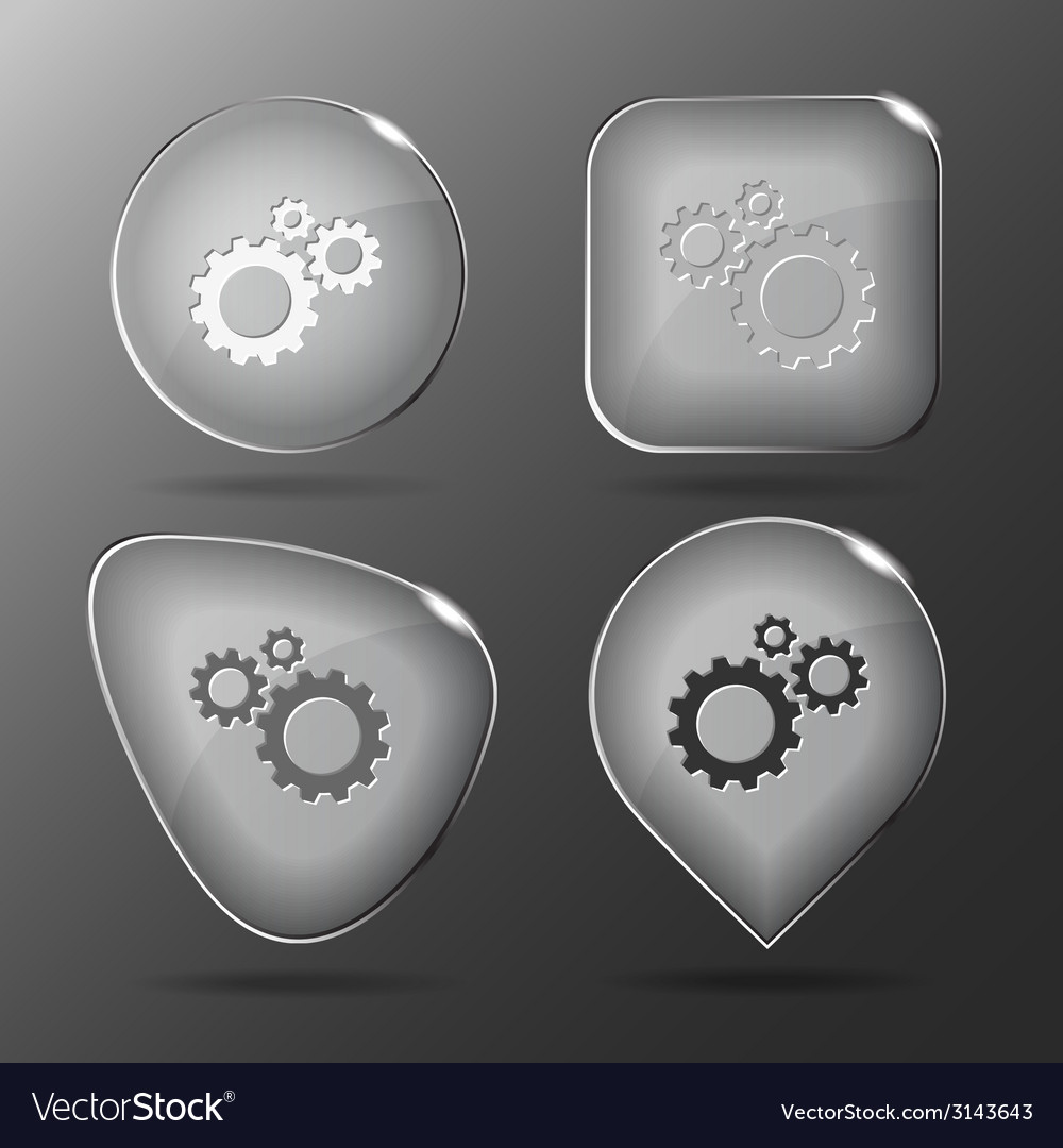 Gears glass buttons vector | Price: 1 Credit (USD $1)
