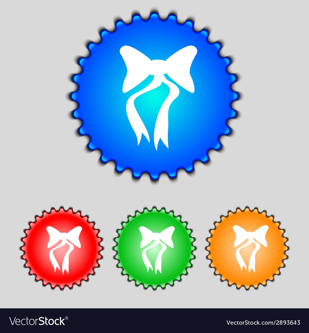 Graphical decorative bows set colourful buttons vector | Price: 1 Credit (USD $1)