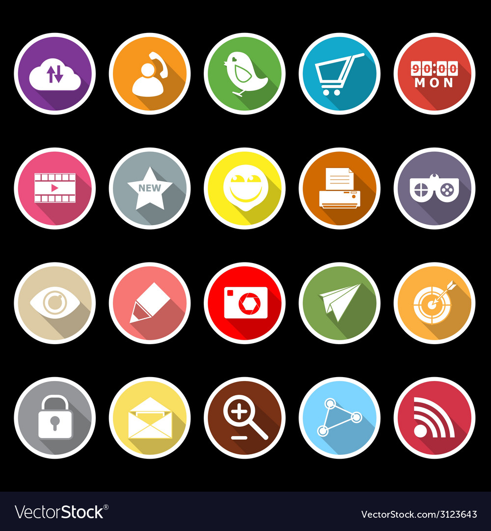 Internet useful flat icons with long shadow vector | Price: 1 Credit (USD $1)