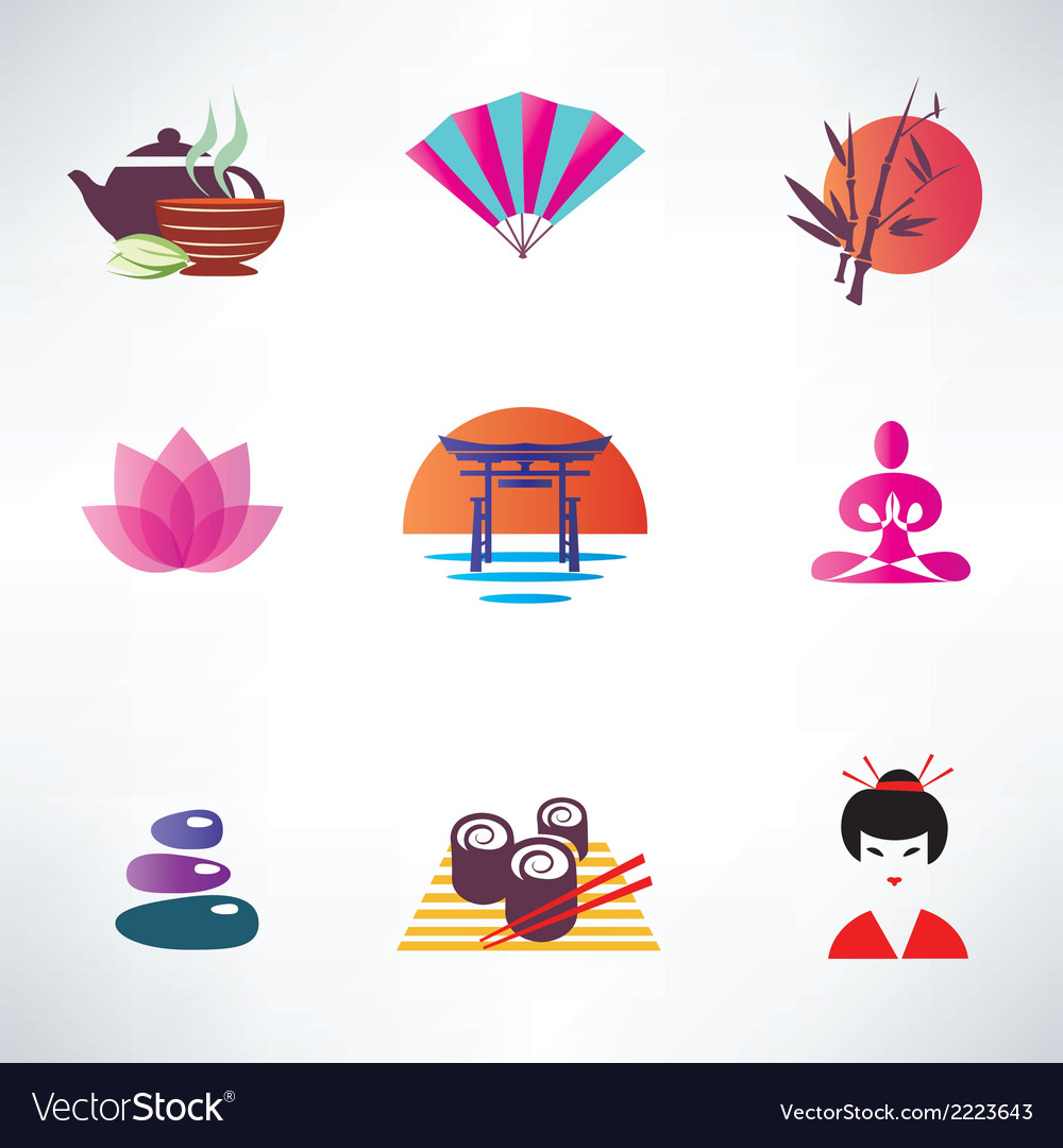 Japanese culture set of icons vector | Price: 1 Credit (USD $1)
