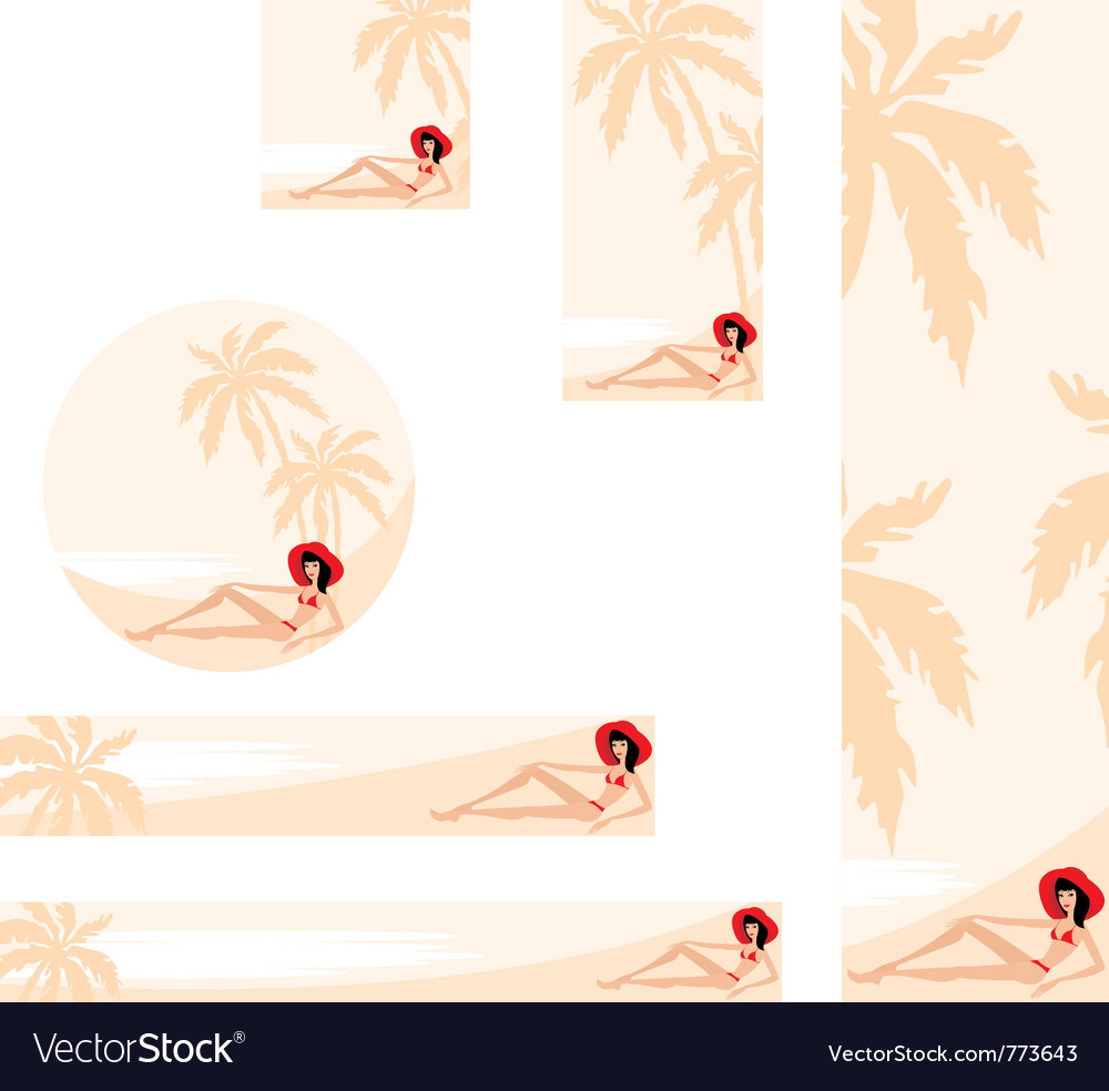 Palm trees and woman banner vector | Price: 3 Credit (USD $3)