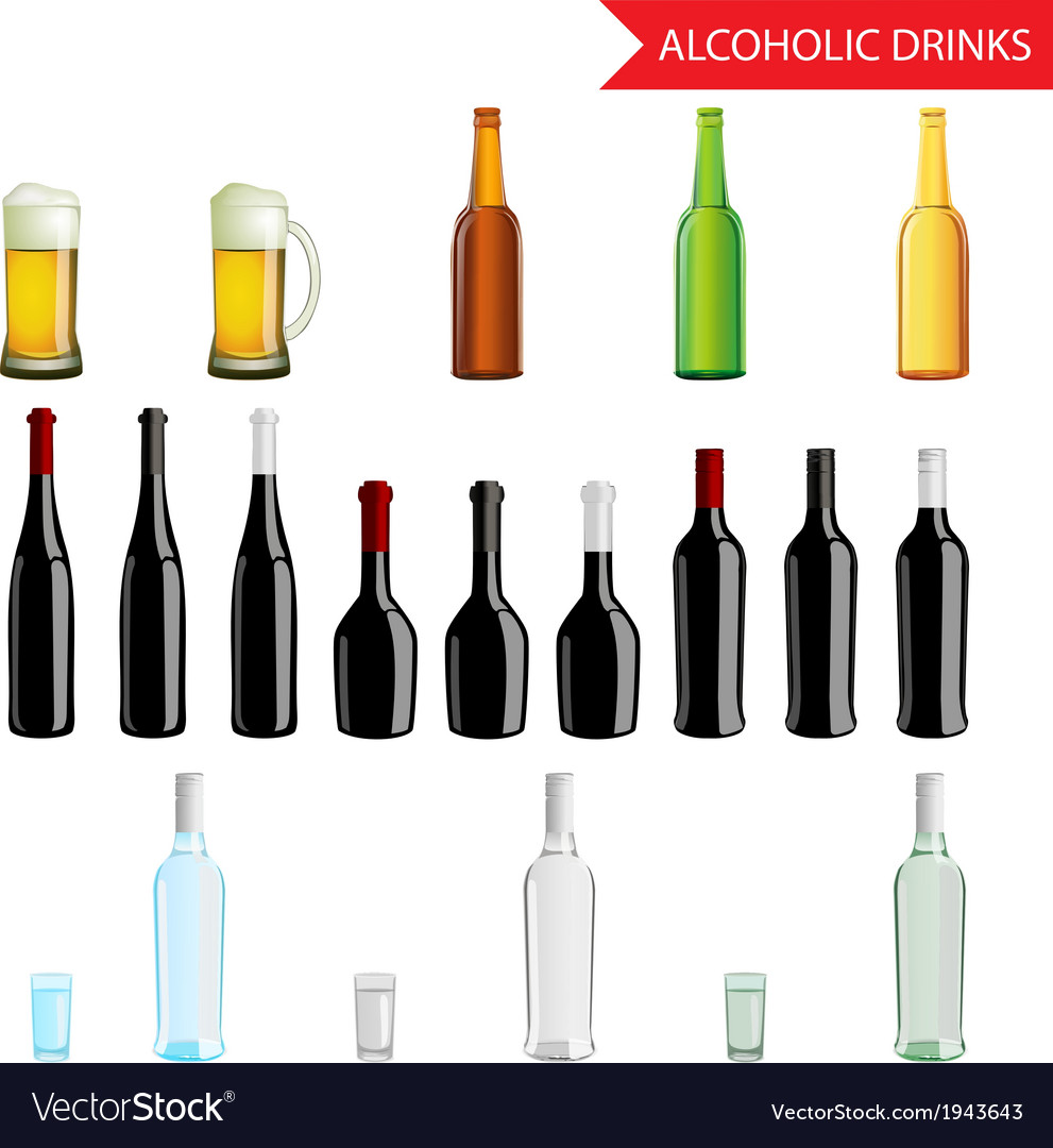 Realistic alcoholic drinks and beverages icon set vector | Price: 1 Credit (USD $1)