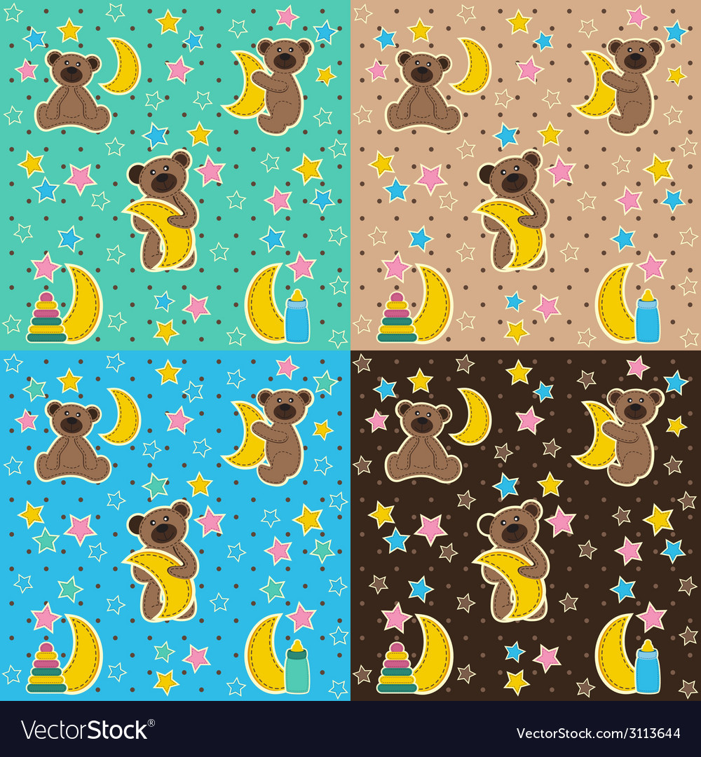 Baby texture with bear moon star vector | Price: 1 Credit (USD $1)