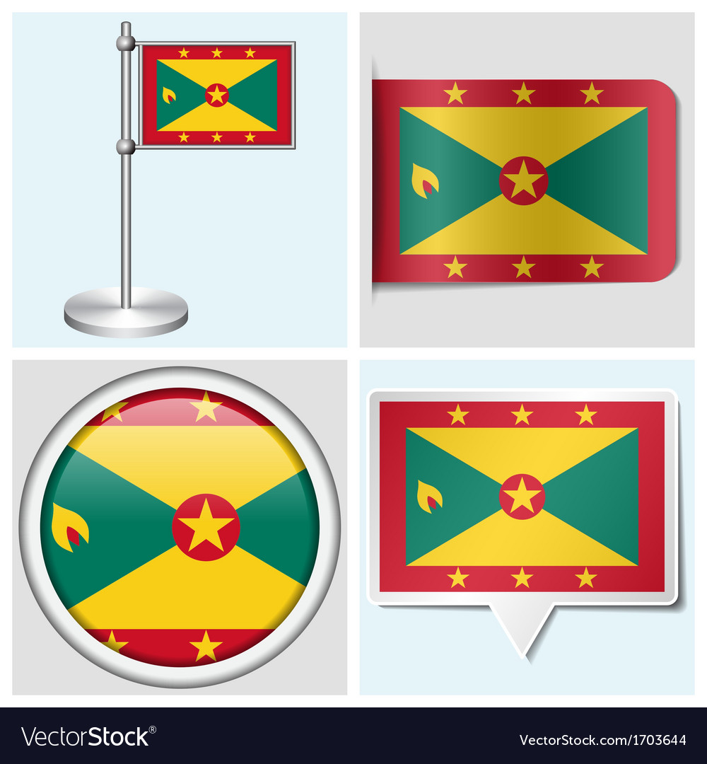 Grenada flag - sticker button label flagstaff vector | Price: 1 Credit (USD $1)
