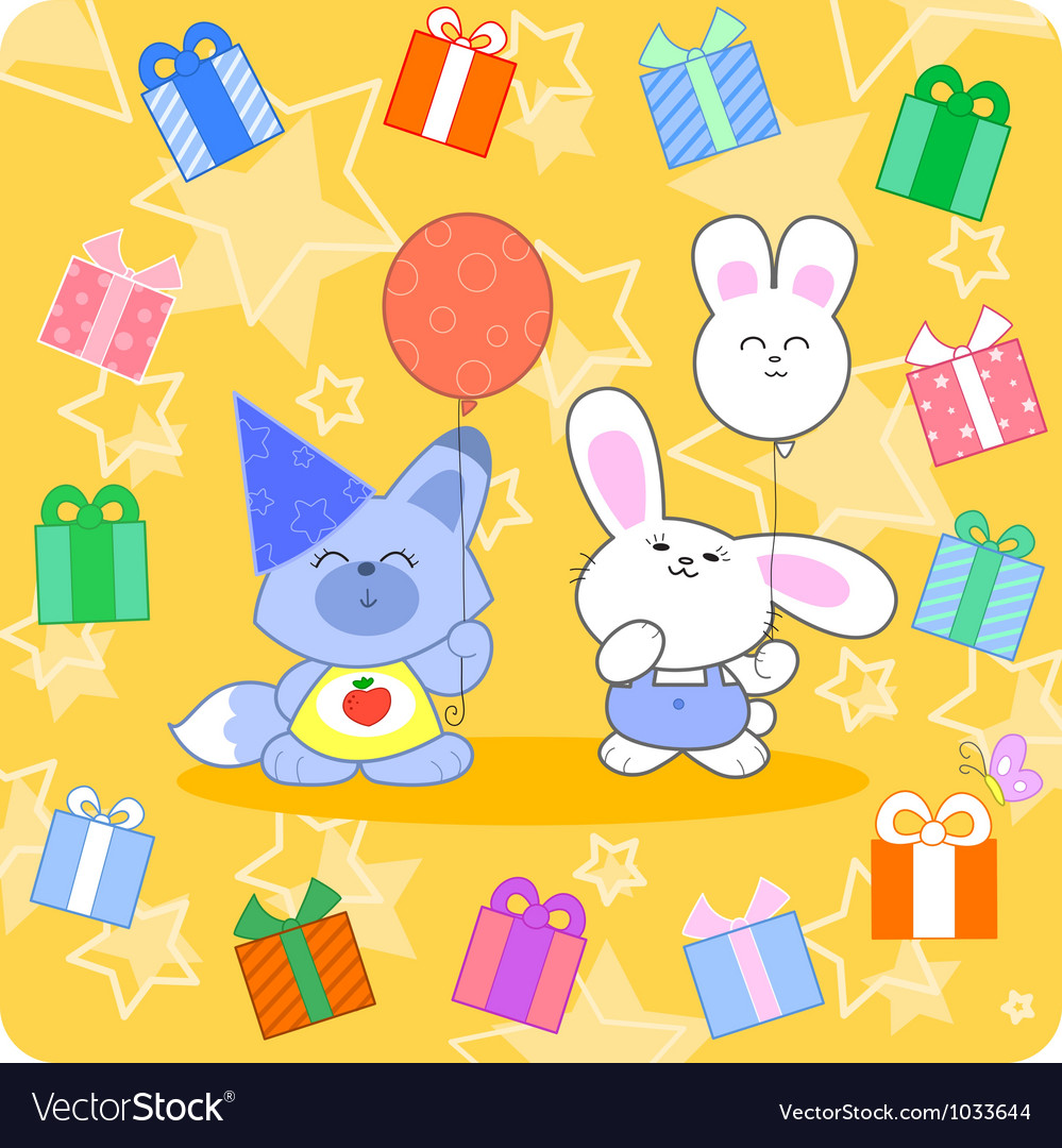 Happy birtday with cute animals and gifts vector | Price: 1 Credit (USD $1)