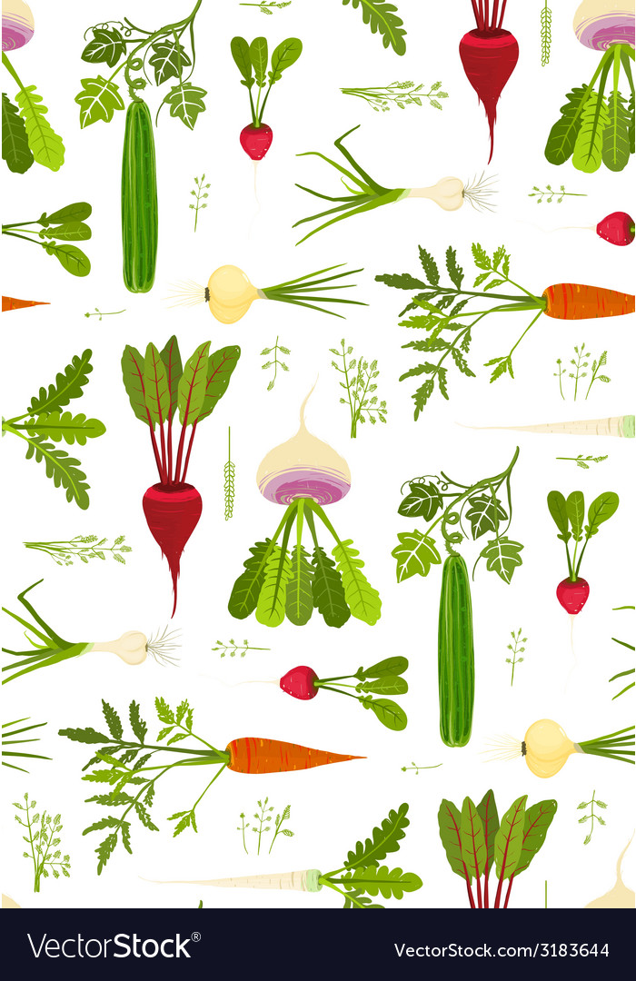 Leafy vegetables and greens seamless pattern vector | Price: 1 Credit (USD $1)