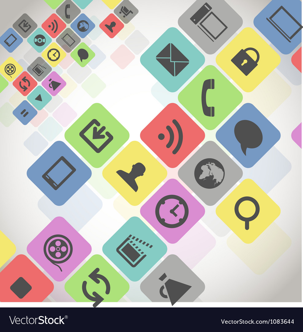 Modern media icons in color squares vector | Price: 1 Credit (USD $1)