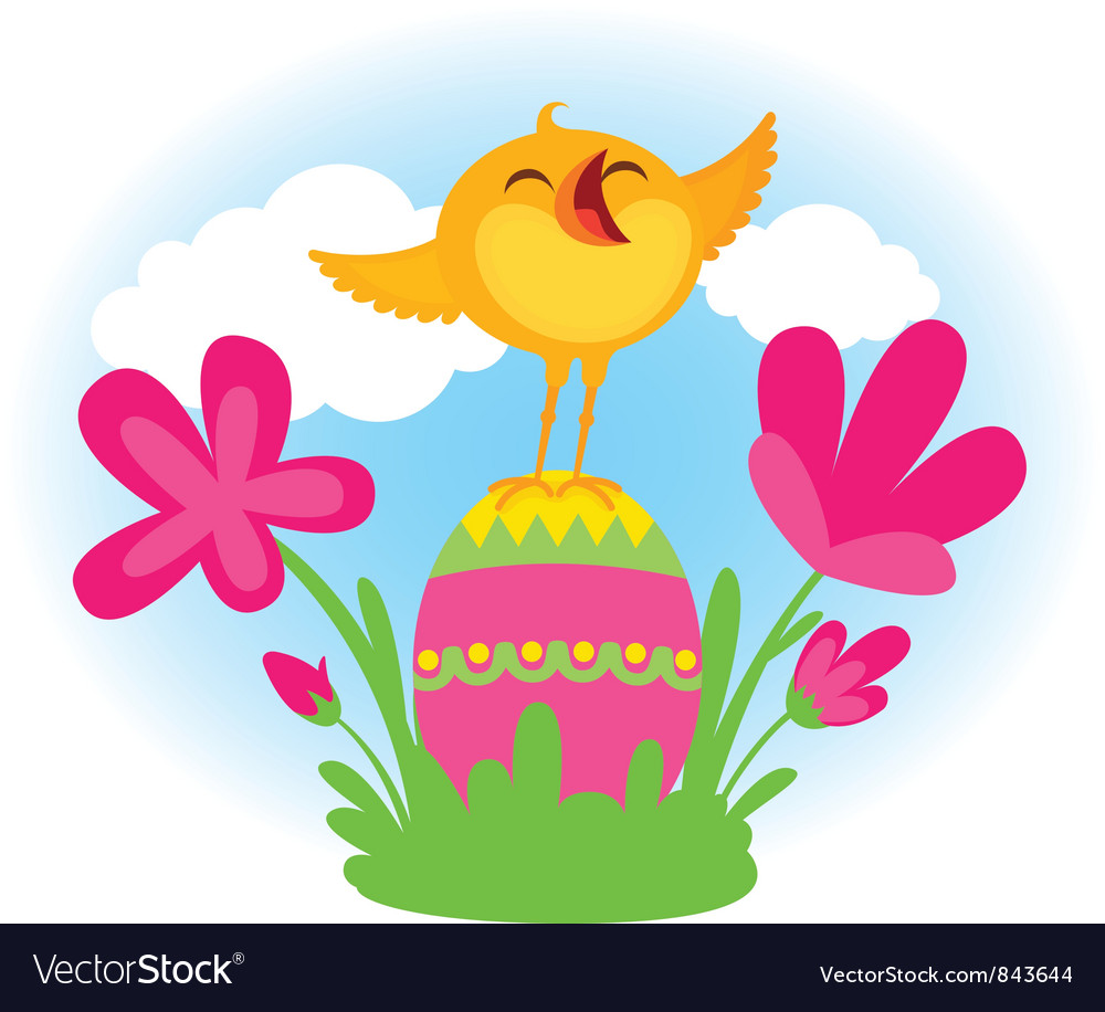 Singing easter chick vector | Price: 3 Credit (USD $3)
