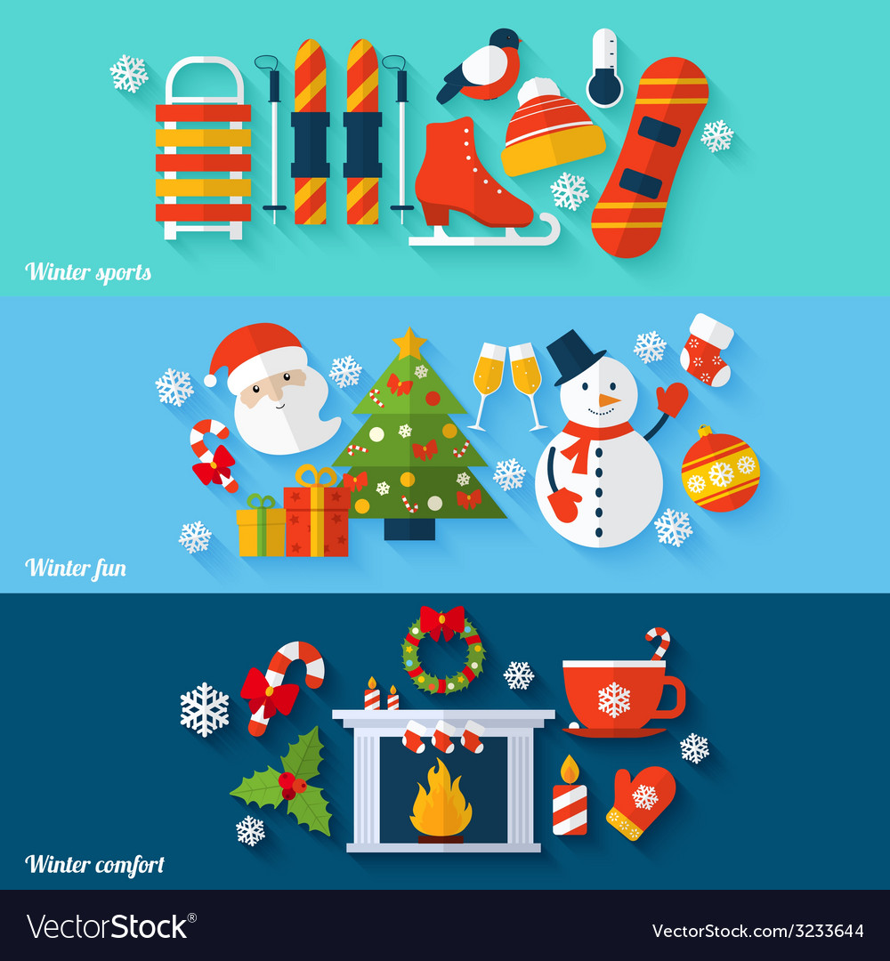 Winter banners set vector | Price: 1 Credit (USD $1)
