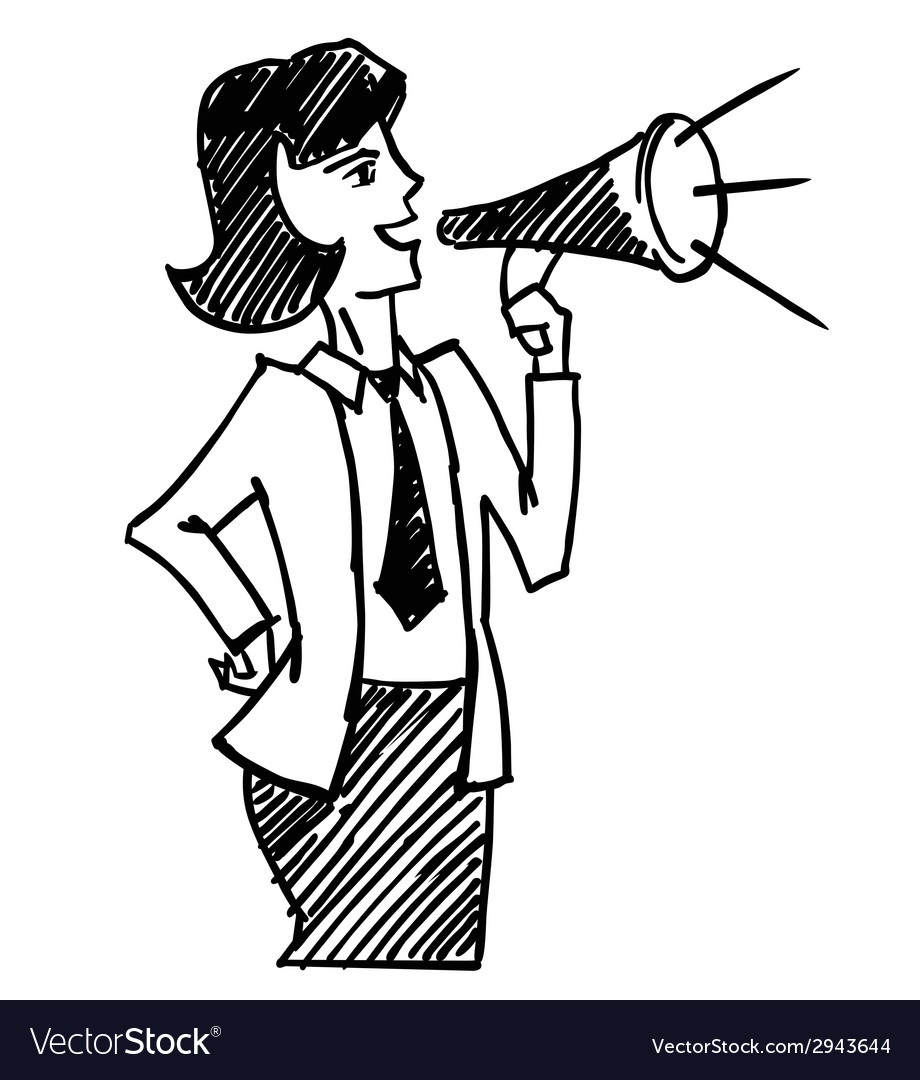 Woman with megaphone vector | Price: 1 Credit (USD $1)