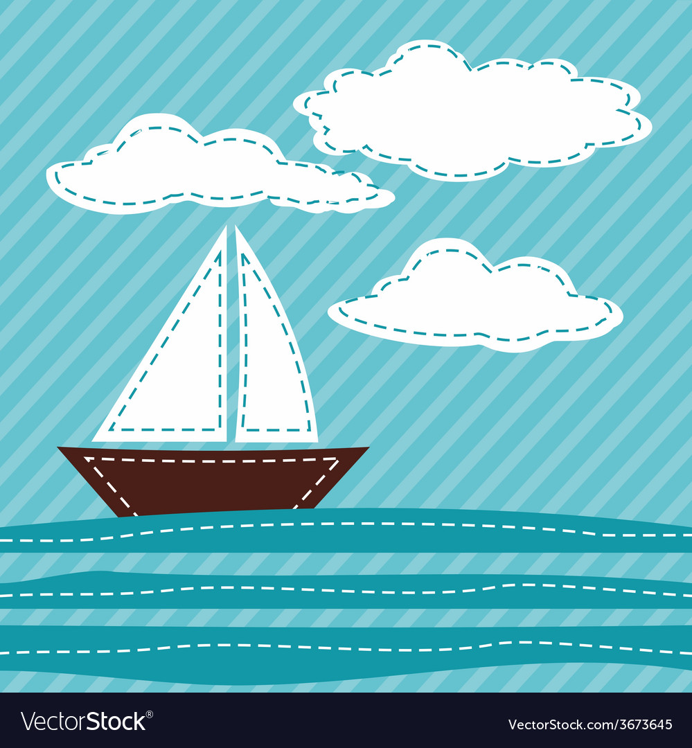 Cartoon sail boat patchwork vector | Price: 1 Credit (USD $1)