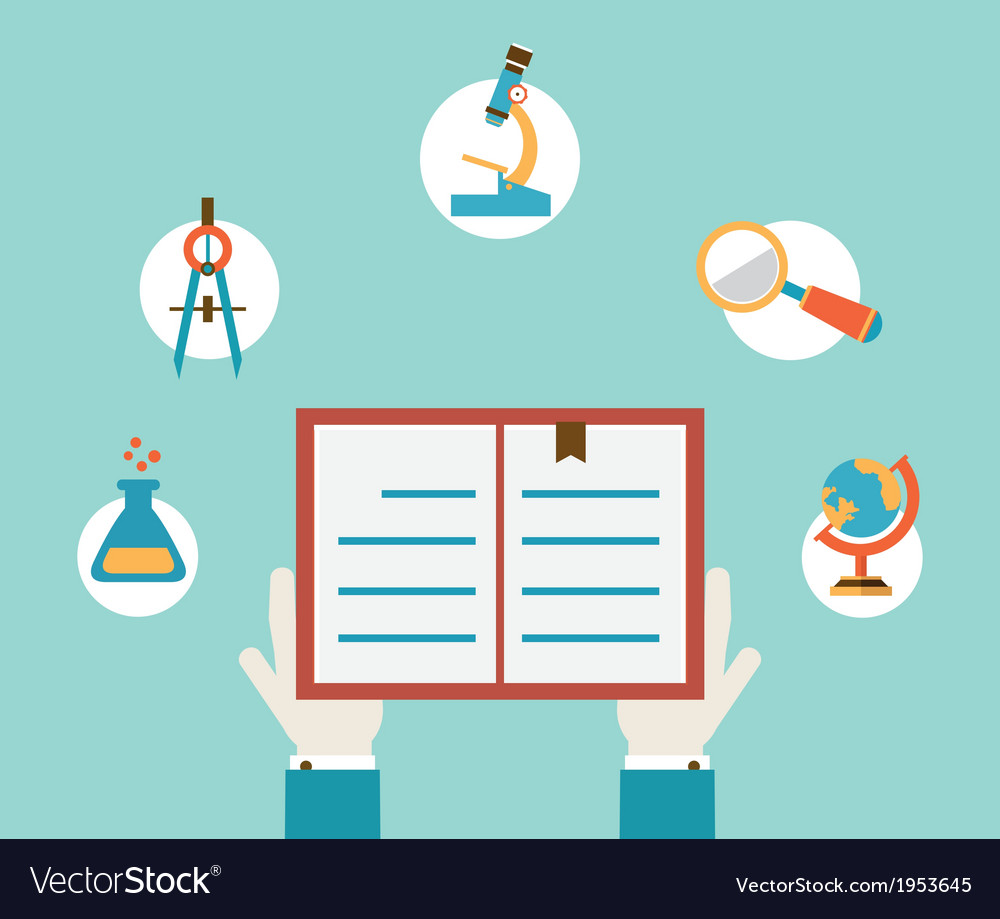 Concept of study hands holding book vector | Price: 1 Credit (USD $1)