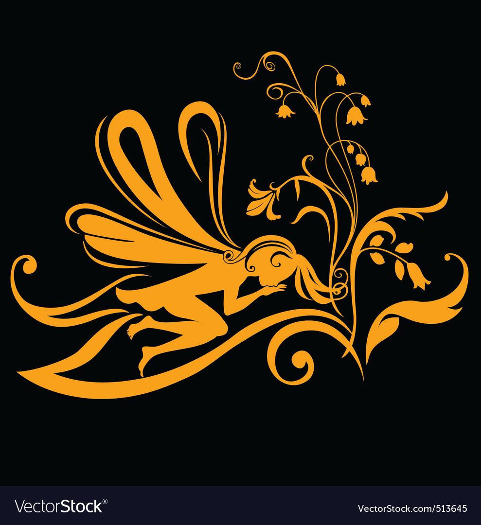 Fairy silhouette vector | Price: 1 Credit (USD $1)