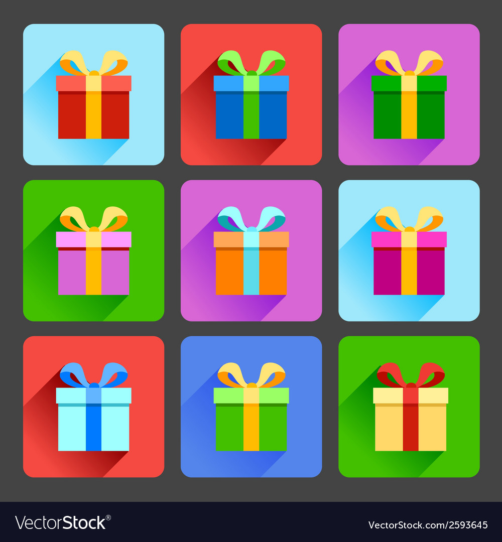 Flat gift box icons set vector | Price: 1 Credit (USD $1)