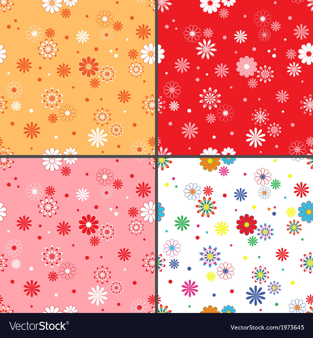Four seamless patterns with daisy flowers vector | Price: 1 Credit (USD $1)