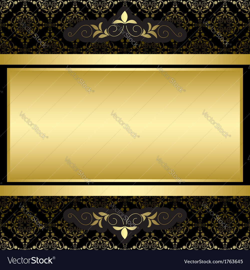 Golden frame on black vintage pattern vector | Price: 1 Credit (USD $1)