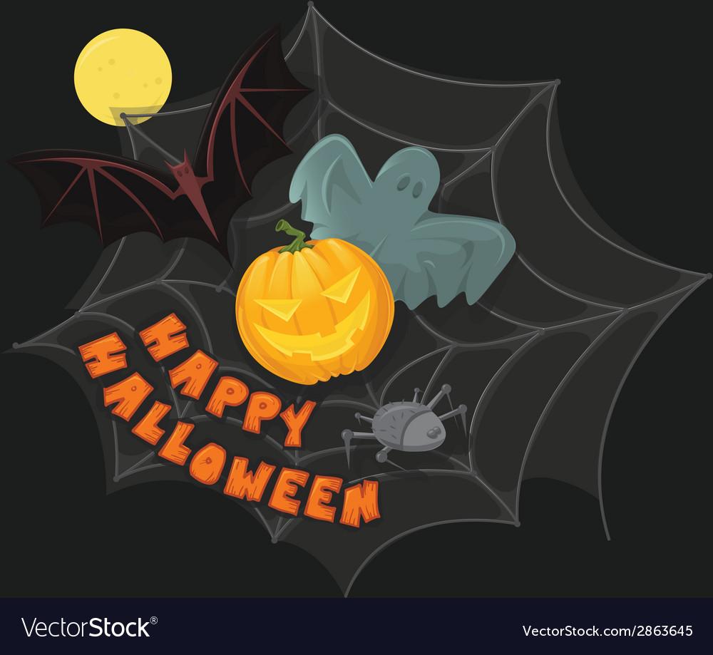 Happy halloween poster with pumpkin bat ghost vector   Price: 1 Credit (USD $1)
