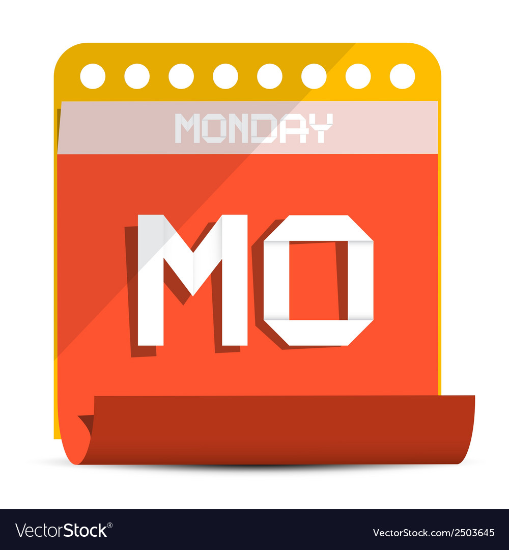 Monday paper calendar vector | Price: 1 Credit (USD $1)