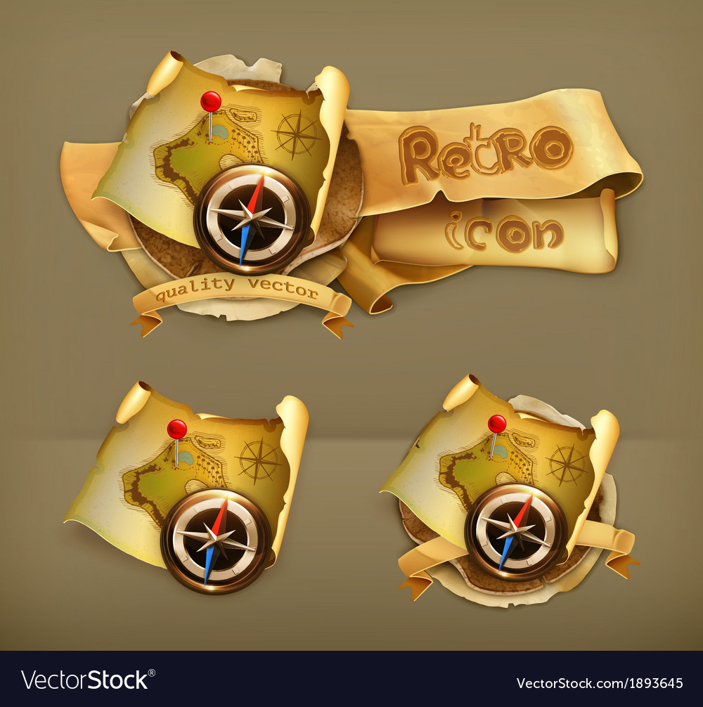 Old map icon vector | Price: 1 Credit (USD $1)