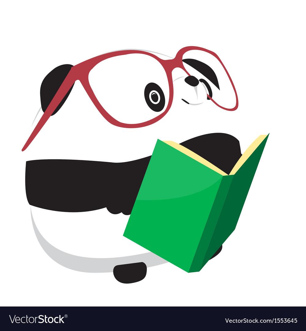 Panda reading book vector
