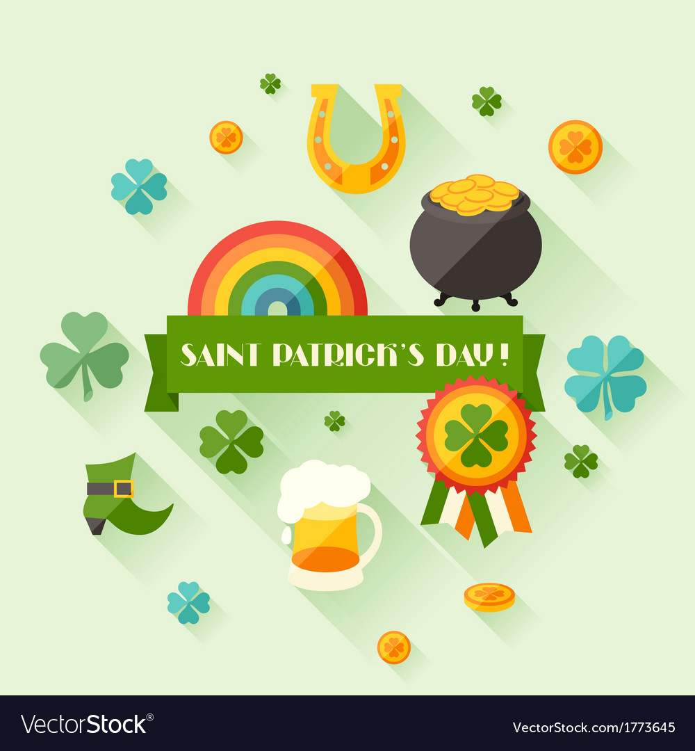 Saint patricks day greeting card in flat design vector | Price: 1 Credit (USD $1)