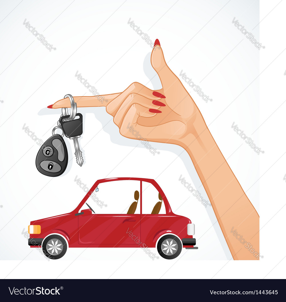 Woman hand with auto key and red car on the back vector   Price: 1 Credit (USD $1)