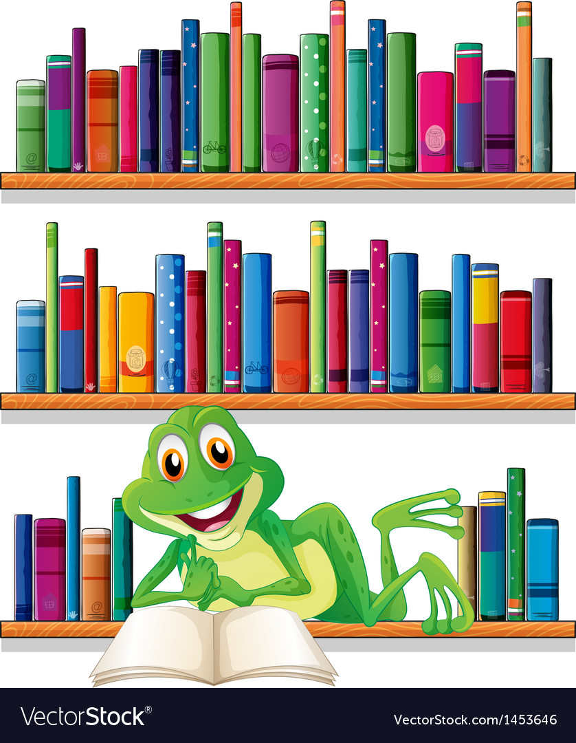A smiling frog reading a book vector | Price: 1 Credit (USD $1)