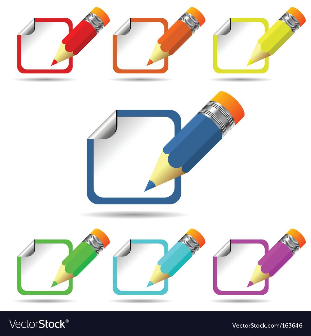 Color pencil and sticker vector | Price: 1 Credit (USD $1)