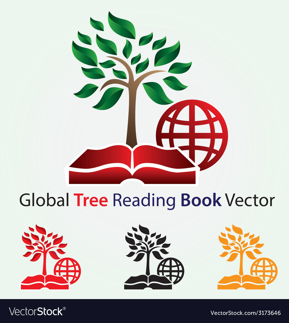Global tree reading book vector | Price: 1 Credit (USD $1)