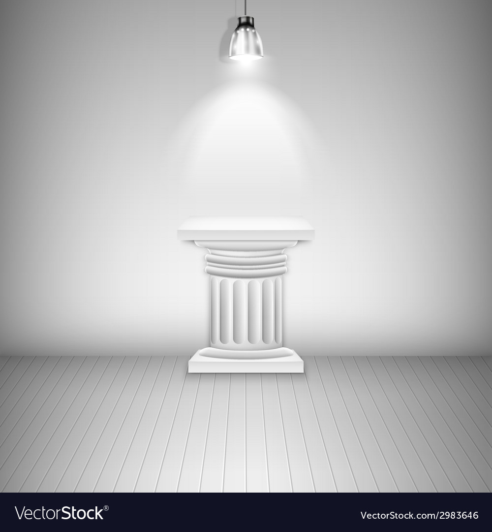 Illuminated blank pedestal in gallery vector | Price: 1 Credit (USD $1)